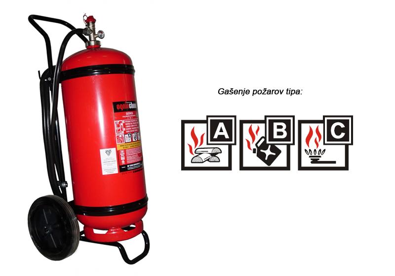Gasilni aparat na prah 50 kg ABC – prevozni