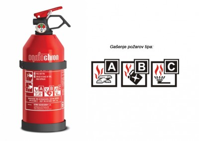 Gasilni aparat na prah 1kg ABC